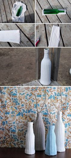 Vases of bottles with their own hands - 29 photos with ideas for creativity - Glass and plastic bottles have a wide variety of shapes and sizes, which makes them an excellent material for making vases. Diy Home Decor On A Budget, Diy Home Improvement, Plastic Bottles, Dollar Stores, Creative, Hands, Photos, Flower Vases, Bottles