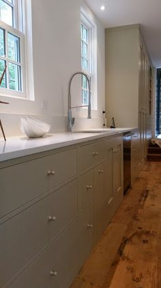 Handcrafted Shaker Kitchen cabinetry painted Farrow & Ball Stony Ground