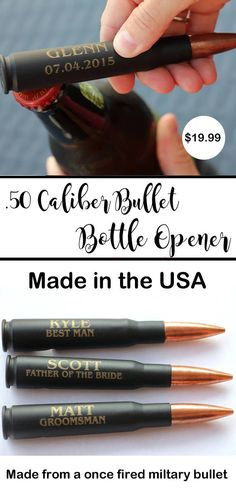 50 Caliber Bullet bottle Opener Engraved Groomsmen Gift .50