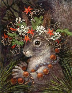 Squirrel in Love drawings artists Wild Hats - Mountain and Desert Critters with Hats of Native Plants Art And Illustration, Illustrations, Squirrel Illustration, Animal Paintings, Animal Drawings, Easter Drawings, Horse Drawings, Image Beautiful, Lapin Art