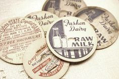 I am the granddaughter of a dairywoman.  My maternal grandmother, Mom Miller, milked a mixed herd of Holstein, Jersey, and Guernsey cows. She meticulously washed & filled 1 gallon jugs & quart bottles; cream was sold in 1pint bottles.  I have successfully placed these cardboard lids on many a quart/pint bottle; I have pushed the lid thru & into the bovine product... it takes skill to place a lid.  Love raw milk from clean/healthy cows.  Thanks Mom Miller! (Her milk sold for 35 cents/gallon)