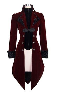 PARIS ALTERNATIF Veste longue rouge et noire aristocrate en velours avec broderi. Style Steampunk, Steampunk Clothing, Gothic Clothing, Steampunk Costume Women, Steampunk Fashion Women, Gothic Steampunk, Style Lolita, Black Velvet Jacket, Red And Black Jacket