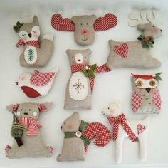 PDF Christmas tree ornament decorations-sewing easy pattern-reindeer-owl-fawn-bear-fox-robin-squirrel- special price - Best Sewing Tips Christmas Crafts To Sell, Christmas Sewing, Noel Christmas, Simple Christmas, Handmade Christmas, Xmas, Woodland Christmas, Felt Ornaments, Christmas Tree Ornaments