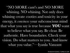 Iyanla Vanzant quote no more can'ts
