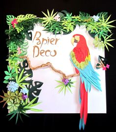 Wall Decor Paper Tropical Bird and Leaves  Luau by PapierDeco