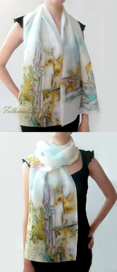 Bridge in Venice Silk Scarf Hand Painted Scarf Silk Chiffon Green Blue Yellow…