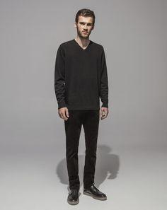 Super Soft Merino V Neck Sweater (Black) 16 Wale Cord Slim Fit Stretch (Black)