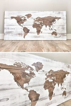 The wood of this world map has been sanded smooth, stained in a walnut brown, painted, and distressed by hand, to create a unique look. World Map Wall Art, World Map Painting, Wood World Map, World Map Decor, Wall Maps, Globe Decor, Antique Maps, Vintage Maps, Wall Art