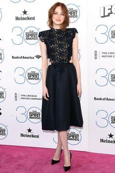 Emma Stone in Monique Lhuillier   - HarpersBAZAAR.com