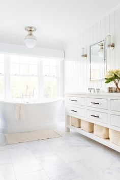 Dreaming of an extravagance or designer master bathroom? We've gathered together plenty of gorgeous master bathroom suggestions for small or large budgets, including baths, showers, sinks and basins, plus bathroom decor tips. Upstairs Bathrooms, Chic Bathrooms, Master Bathrooms, Dream Bathrooms, Luxury Bathrooms, Small Bathrooms, Beautiful Bathrooms, Decorating Bathrooms, Farmhouse Bathrooms
