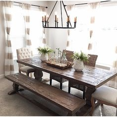 Rustic dining room tables give an impression of ruggedness to any observer. However, a rustic table is attractive because of that. You will be giving your home a country feel when you purchase a rustic dining room table! Dining Room Curtains, Dining Room Table Decor, Decoration Table, Dining Room Design, Room Decor, Dining Room Ideas On A Budget, Dining Table Decor Everyday, Dining Table Decor Centerpiece, Farm Table Decor