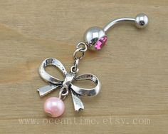 pearl bow Belly Button Rings,pink Navel Jewelry, pearl belly button ring,cute bow,  friendship belly button ring