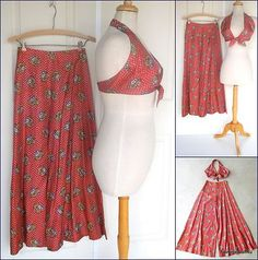 Vintage 1960's - early 70's BELL BOTTOM Hip Huggers and HALTER TOP!  SOLD!