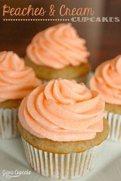 Peaches n' Cream Cupcakes