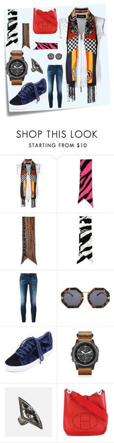 """Neck Scarves..**"" by yagna ❤ liked on Polyvore featuring Post-It, Dsquared2, Roberto Cavalli, Diesel, Karen Walker, Joie, Garmin, Avenue, Hermès and vintage"