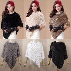 Women'S Luxury 100% Real Rabbit Fur Warm Shawl Cape Cloak Scarf Wrap 12Colors