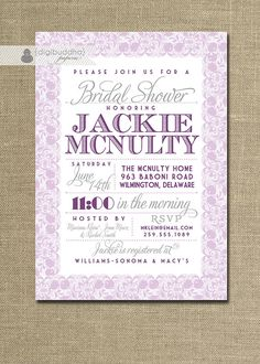 Lace Bridal Shower Invitation Pastel Lavender by digibuddhaPaperie
