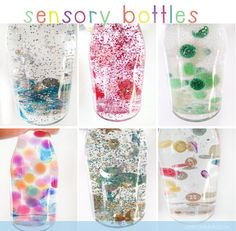 DIY sensory bottles - white glycerine (or baby oil) and water and stuff! (from a little delightful)