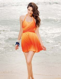 This light and dark orange swimsuit looks like something I would wear to the beach!