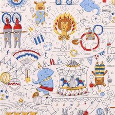white circus animal oxford fabric by Kokka