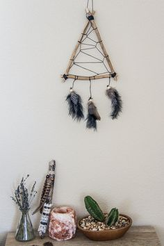 Triangle Bohemian Dreamcatcher, Feather Wall Hanging, Wood Dreamcatcher, Bedroom…