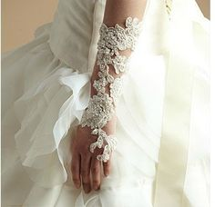 bridal gloves lace bridal gloves handembroidered by WanluBridal, $129.00