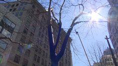 A blue tree at Westlake Park raises awareness of global deforestation.