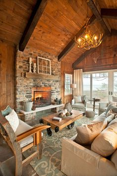 love this rustic & cozy open concept living room / kitchen