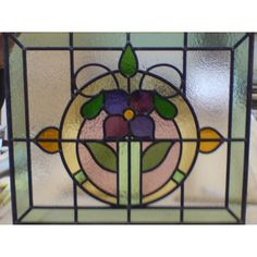 1930s Handmade Stained Glass - Floral Circle
