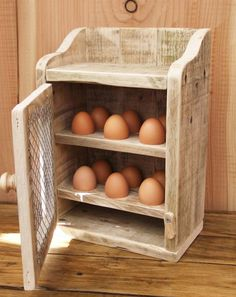 Handmade Rustic Egg Hutch / Holder Made From by NewPurposeDesign