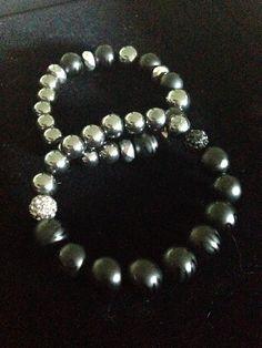 Image of Black and silver unisex bracelets