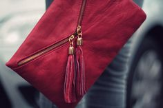 Love the cranberry color of this clutch.