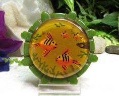 "Vtg SUPER RARE Carved Emerald Apple Juice Bakelite ""Fish Bowl"" Pin Brooch BOOKPC  | eBay"