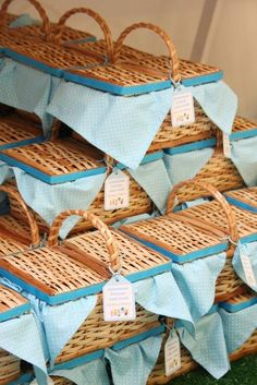 Picnic basket favors, or you could just have regular sized baskets decorated this way, and put on tables and blankets with treats inside