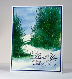 Before the Snow, Flourish Thank you (PB), Inks: Memento Cottage Ivy, Danube Blue & Versafine Majestic Blue  (Tsukineko), CS: Fabriano 100% cotton hot pressed watercolor paper, Winsor & Newton Masking Fluid, tutorial on... - bits & pieces
