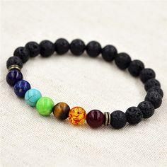 8mm muti-colore borda i braccialetti lava 7 chakra guarigione balance bracciale per gli uomini strass preghiera reiki pietre