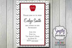 Teacher Retirement Party Invitation by simplyprintable on Etsy
