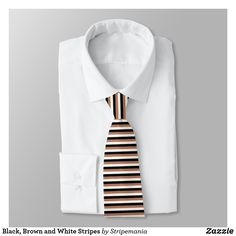 Shop Brown, White, Beige and Black Stripes Tie created by Stripemania. Abstract Digital Art, Suit And Tie, Black Stripes, White Beige, Neckties, Brown, Pattern, Nice, Color