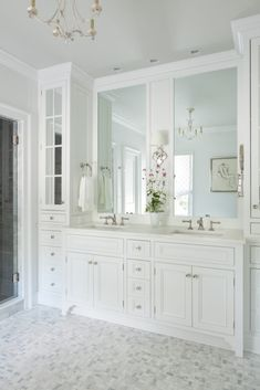 A Traditional yet Quirky Old Home in Virginia - The Glam Pad - - Anne Altizer Interiors traditional design Charlottesville Virginia historic home Edmund S. Bathroom Renos, Bathroom Wall Decor, Bathroom Renovations, Small Bathroom, Bathroom Ideas, Bathroom Organization, Parisian Bathroom, White Master Bathroom, Ikea Bathroom