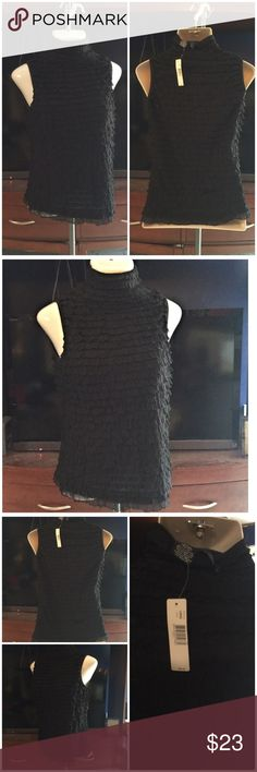 New Directions black ruffle top NWT Sz L NWT very Sexy new directions Tops Blouses