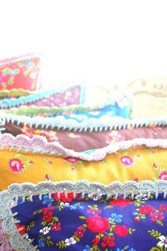 crochet edged pillows