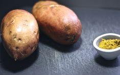 pure de batatas y curry