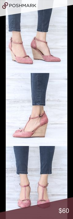 Ladies ankle strap wedge shoes, Peach color.NIB Very stylish ladies wedge with ankle strap, suede top and leather covered wedges heels,hot seller,around three inches high hells. Brand new in box.i have it available in grey color in different listing. Please see last picNO TRADES shoeroom21 boutique Shoes Wedges