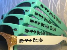 These unique sunnies are HANDWRITTEN by me per order!! Acrylic/vinyl lettering and stickers (that the customer applies in some cases) have a tendency to peel off. This is why I chose to hand write on each pair individually. This also allows you the freedom to put whatever you like on each side! I can fit up to 20 characters (regular size font), spaces included, on each side. 21-28 characters will be smaller lettering and is an additional .25 cents per side. More than 28 characters per si...