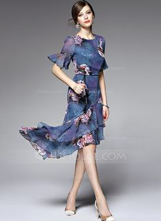 Spandex/Chiffon With Print Asymmetrical Dress (199088929)