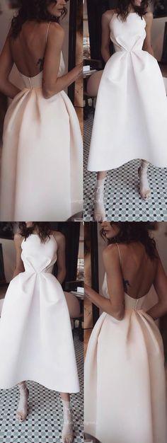 46c45c5c3725 A-Line Spaghetti Straps Backless Tea-Length White Prom Dress with Šaty S  Otvoreným
