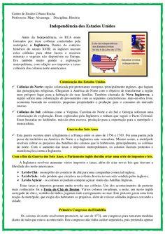 Independência dos Estados Unidos - Texto e atividade Boston Tea, Thomas Jefferson, Pinterest Marketing, Education, School, Studying, Evolution, 1, Teaching History