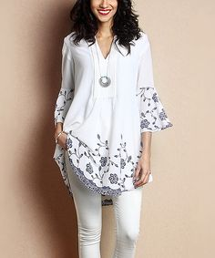 White Floral Chiffon Notch Neck Bell-Sleeve Tunic by Reborn Collection #zulily #zulilyfinds
