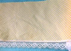 Yellow Gingham Trim  with White Lace  4 1/2 inches wide    2 yards