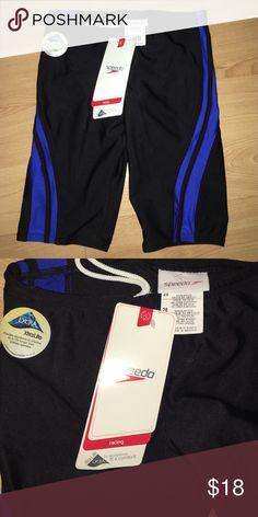 Speedo racing swim suit Blue and black speedo racing bathing suit. Never been used. NWT Speedo Swim Swim Trunks